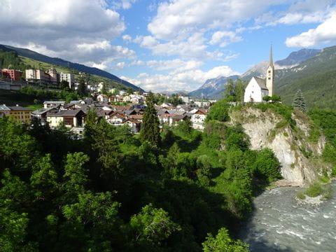 View over Scuol in Switzerland