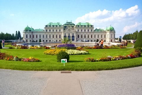 Frontview of the beautiful castle belvedere in vienna