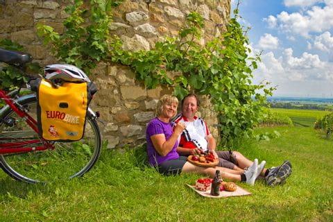 Kleines Picknick während der Radtour in den Weinreben