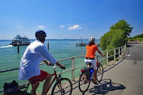 Radfahrer auf Radweg bei Meersburg am Ufer des Bodensees