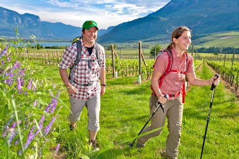 Wanderer auf Weinwegen nahe dem Kalterer See