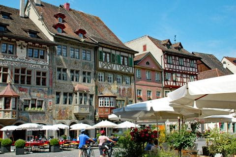 Historic market square in Stein am Rhein