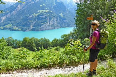 Hiker enjoys the view at Lake Uri