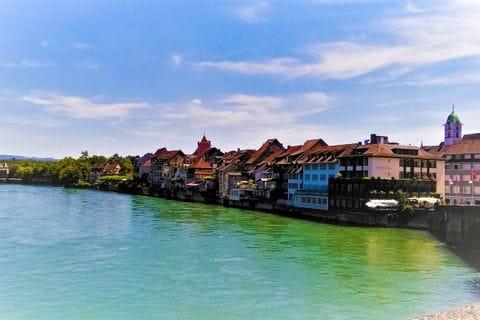 Blick auf das pittoreske Rheinfelden am Rhein