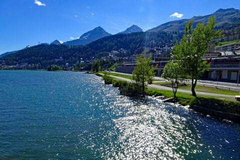 Lake by St. Moritz with sunshine