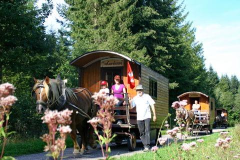Gruppenfahrt Zigeunerwagen durch die Landschaft im Elsass