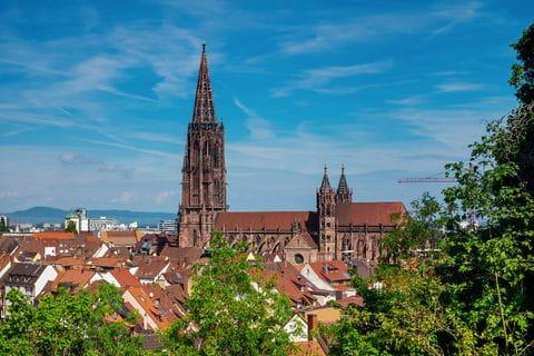 Fachwerkhäuser und blumengeschmückte Geländer in Colmar