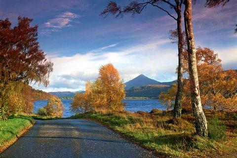 Herbstlandschaft mit einem See im Hintergrund von farbenfrohen Bäumen