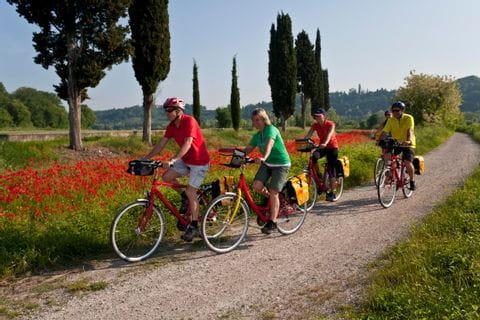 Radfahrer auf Radweg bei Borghetto