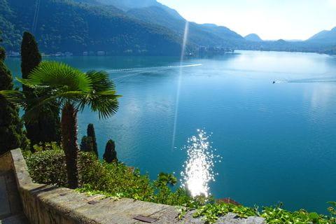 View of the sparkling Lake Lugano