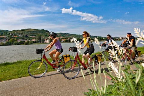 Radfahrer radeln entlang des Donauradwegs