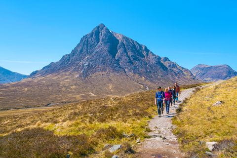 Hikers at the Buachaille Etive Mòr