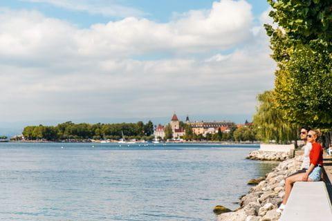 Blick auf den Hafen am Genfer See