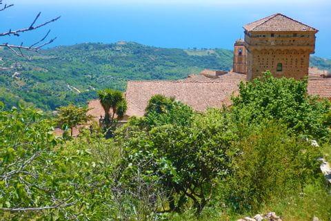 Eine Burg umegeben von grüner Natur in Cilento
