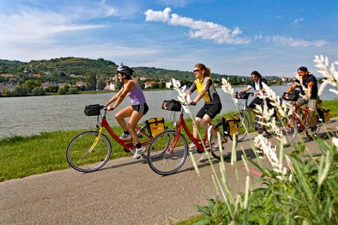 Radfahrer auf Radweg entlang der Donau
