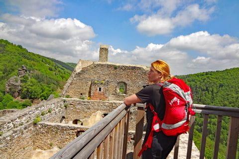 Wanderer auf der Burgruine Aggstein