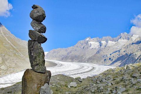 Steinmännchen am Aletschgletscher