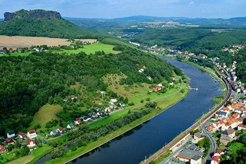View from above to the river Elbe