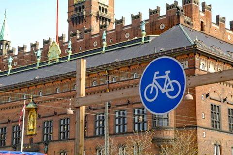 Radwegschild in Kopenhagen