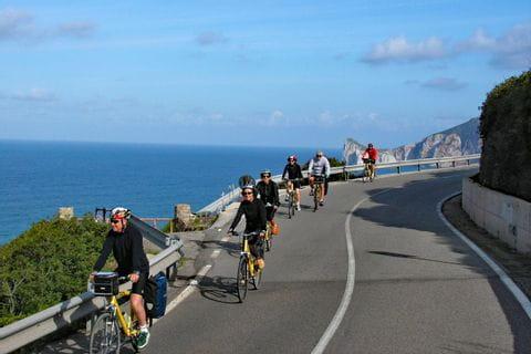 Radgruppe auf Küstenstraße