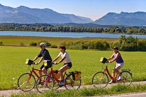 Radfahrer auf Radweg in Breitenbrunn am Chiemsee