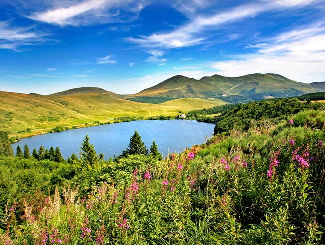 Impressive panoramic views in hiking area Auvergne